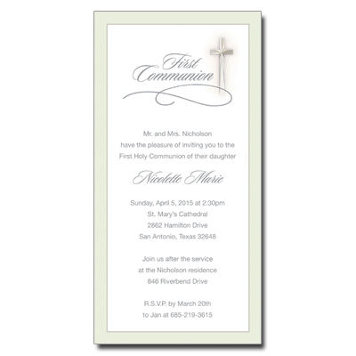 Simple Cross First Communion Invitation