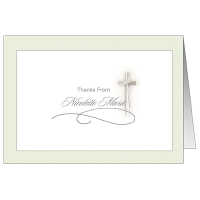 Simple Cross First Communion Thank You Card