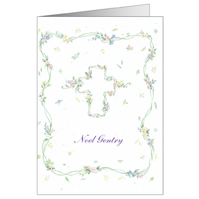 Cross Floral First Communion Thank You Card