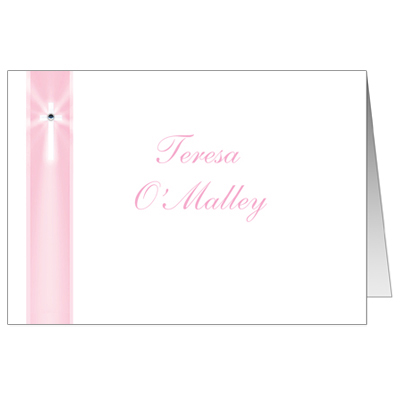 Pink Rays Jeweled First Communion Thank You Card