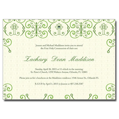 Adorned Cross First Communion Invitation