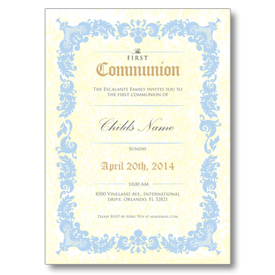 Antique Script First Communion Invitation