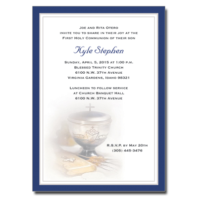 Silver Chalice Blue First Communion Invitation