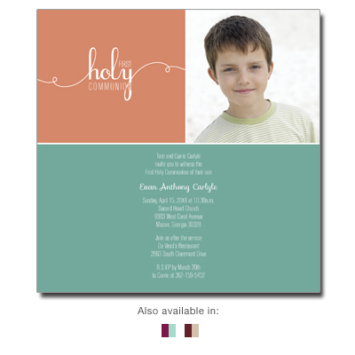 Bright Square First Communion Invitation