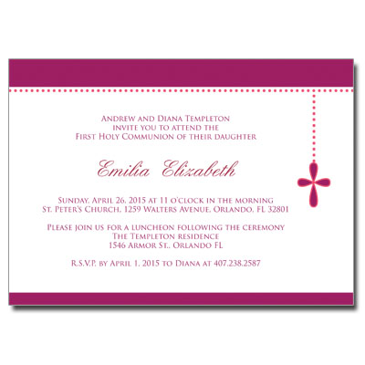 Bubble Cross Pink Jeweled Invitation