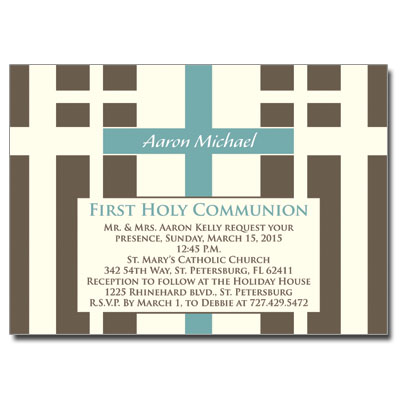 Contempo Crosses First Communion Invitation