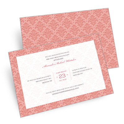 Elegant Damask First Communion Invitation - Pink