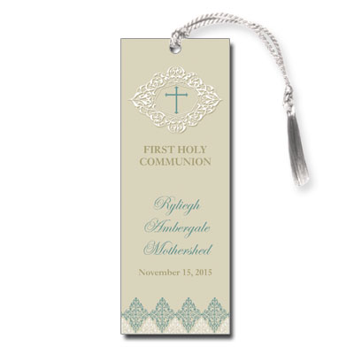 Elegant Sage First Communion Bookmark