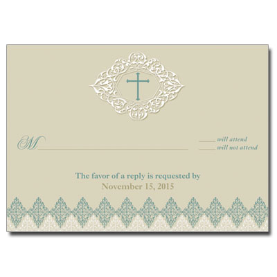 Elegant Sage First Communion Response Card