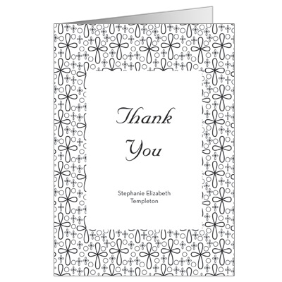Flower Crosses First Communion Thank You Card