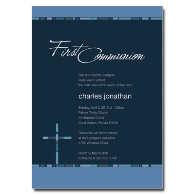 Geometric Blue Cross Invitation