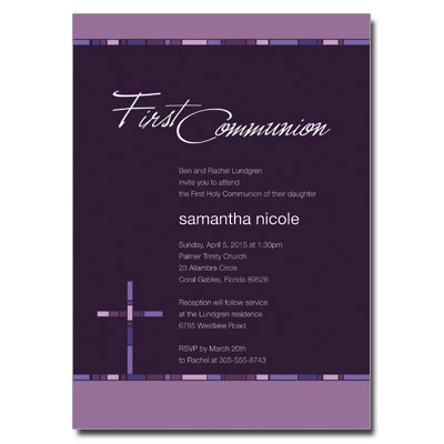 Geometric Purple Cross Invitation