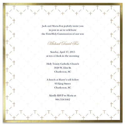 Gold Cross First Communion Invitation