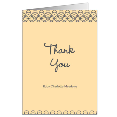 Golden Hoops First Communion Thank You Card