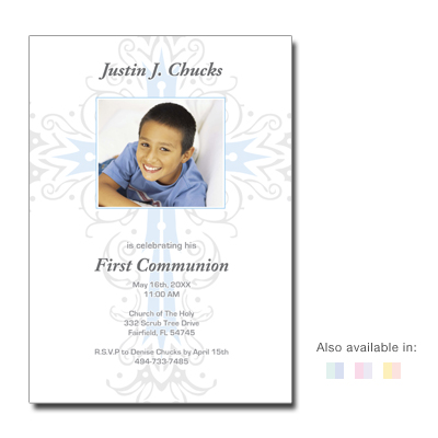 Intricate Cross First Communion Invitation