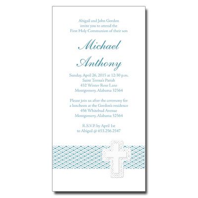 Lattice Cross Blue First Communion Invitation