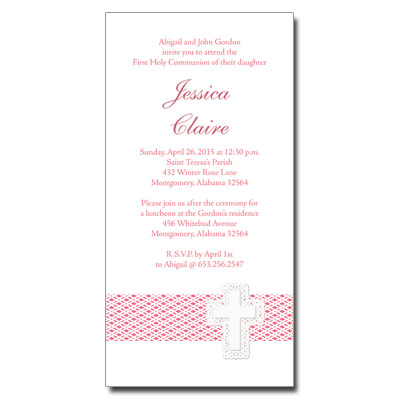 Lattice Cross Pink Invitation