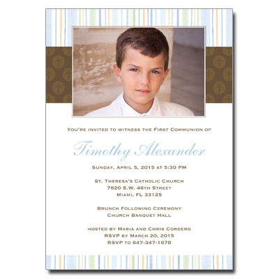 Mod Religious Blue Stripes Invitation