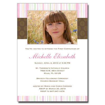 Mod Religious Pink Stripes First Communion Invitation