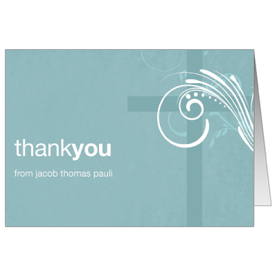 Modern Teal Swirl First Communion Thank You Card
