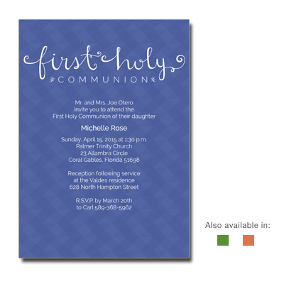 Sophisticated Script First Communion Invitation