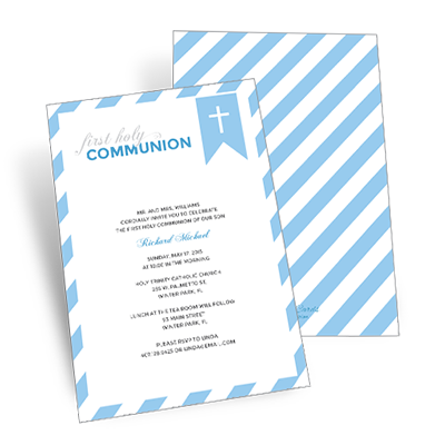 Striped Bookmark First Communion Invitation - Blue