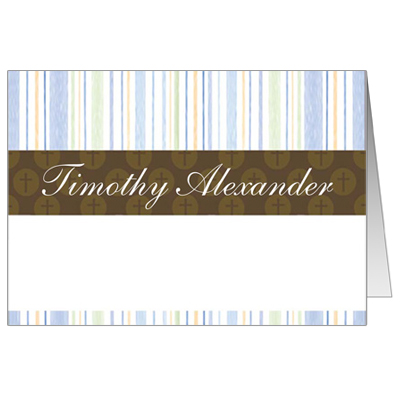 Mod Religious Blue Stripes Note Card