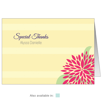 Dahlia Flowers First Communion Thank You Card