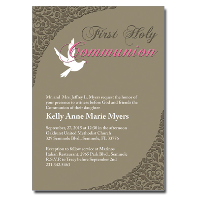 White Dove First Communion Invitation