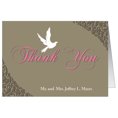 White Dove First Communion Thank You Card