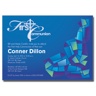 Abstract Glass Blue First Communion Invitation