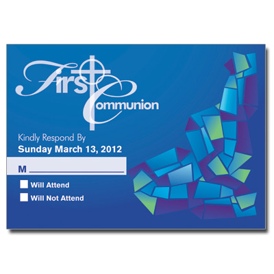 Abstract Glass Blue Response Card