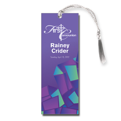 Abstract Glass Purple First Communion Bookmark