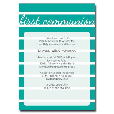 Bold Stripes Teal First Communion Invitation