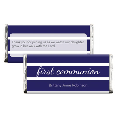 Bold Stripes Blue First Communion Candy Wrapper