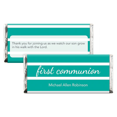 Bold Stripes Teal First Communion Candy Wrapper