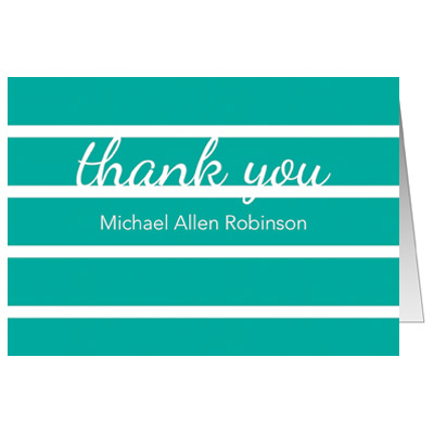 Bold Stripes First Communion Thank You Card - Teal