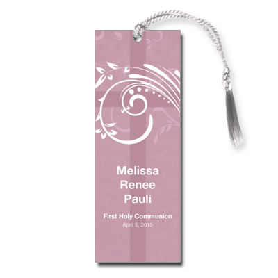 Modern Mauve Swirl First Communion Bookmark