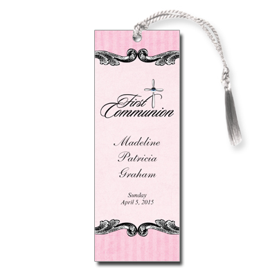 Ornate Jewel Cross Pink First Communion Bookmark