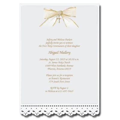 Lace Cut Invitation with Bow