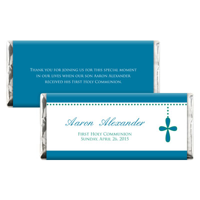Bubble Cross Blue First Communion Candy Wrapper
