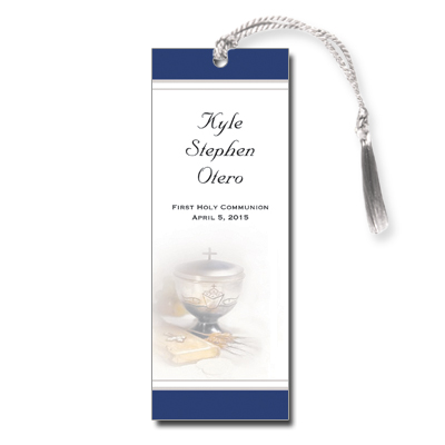 Silver Chalice Blue First Communion Bookmark