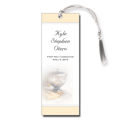 Silver Chalice First Communion Bookmark