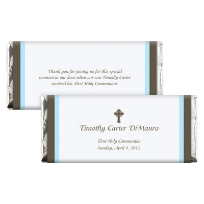 Chocolate & Blue First Communion Candy Wrapper