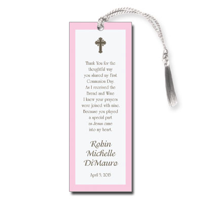 Chocolate & Pink First Communion Bookmark