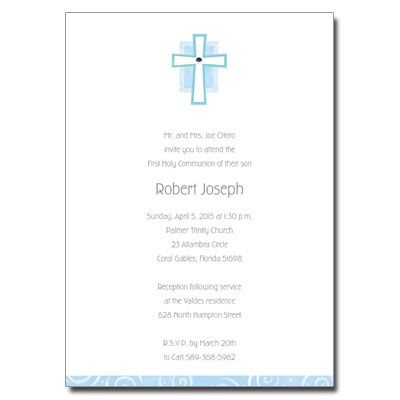 Blue Cross Jewel First Communion Invitation