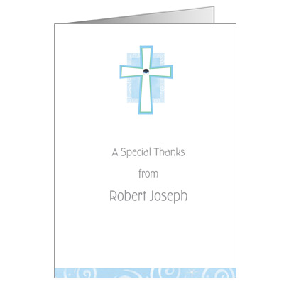 Blue Cross Jewel First Communion Thank You Card