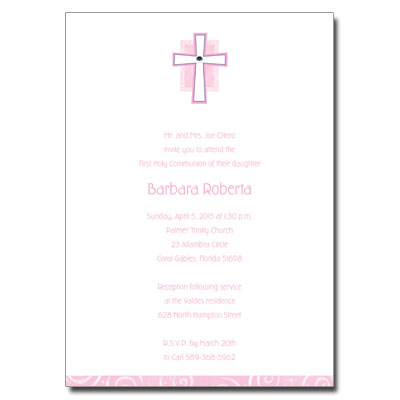 Pink Cross Jewel Invitation