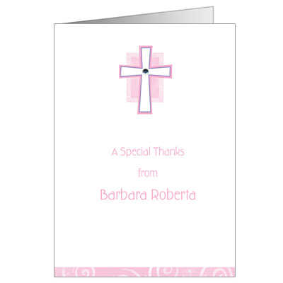 Pink Cross Jewel Note Card