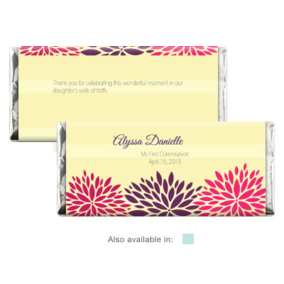 Dahlia Flowers First Communion Candy Wrapper